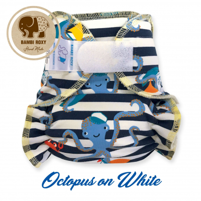 Cloth Bamboo Nappy One-Size (Velcro) - Otopus on White 1-NOH-Z-038