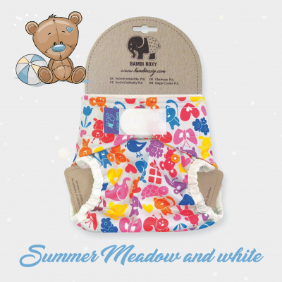 One Size Cover (velcro) - Summer Meadow and white 1-PUL-Z-043