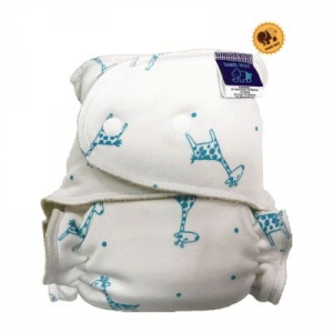 Cloth diaper 1-size - Giraffe on blue BRP54