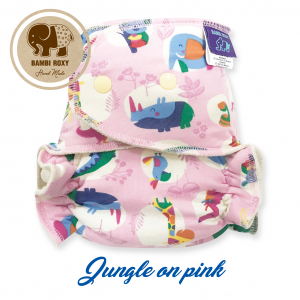 Night Fitted Nappy (Snap) - Jungle on pink NOC-P-016