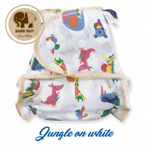 Night Fitted Nappy (Snap) - Jungle on white NOC-P-017