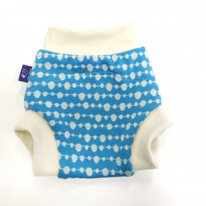 Wool Cover Nappy / Size M / - Bubles on turquise SHORT2