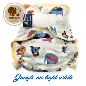 Cloth Bamboo Nappy One-Size (Velcro) - Jungle on white 1NOH-Z-001