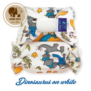 1-size Nappy (velcro) - Dinosaurus on white BRZ1-067